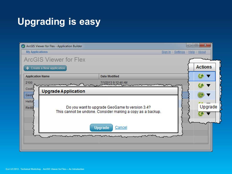 Esri UC2013. Technical Workshop. Upgrading is easy ArcGIS Viewer for Flex— An Introduction
