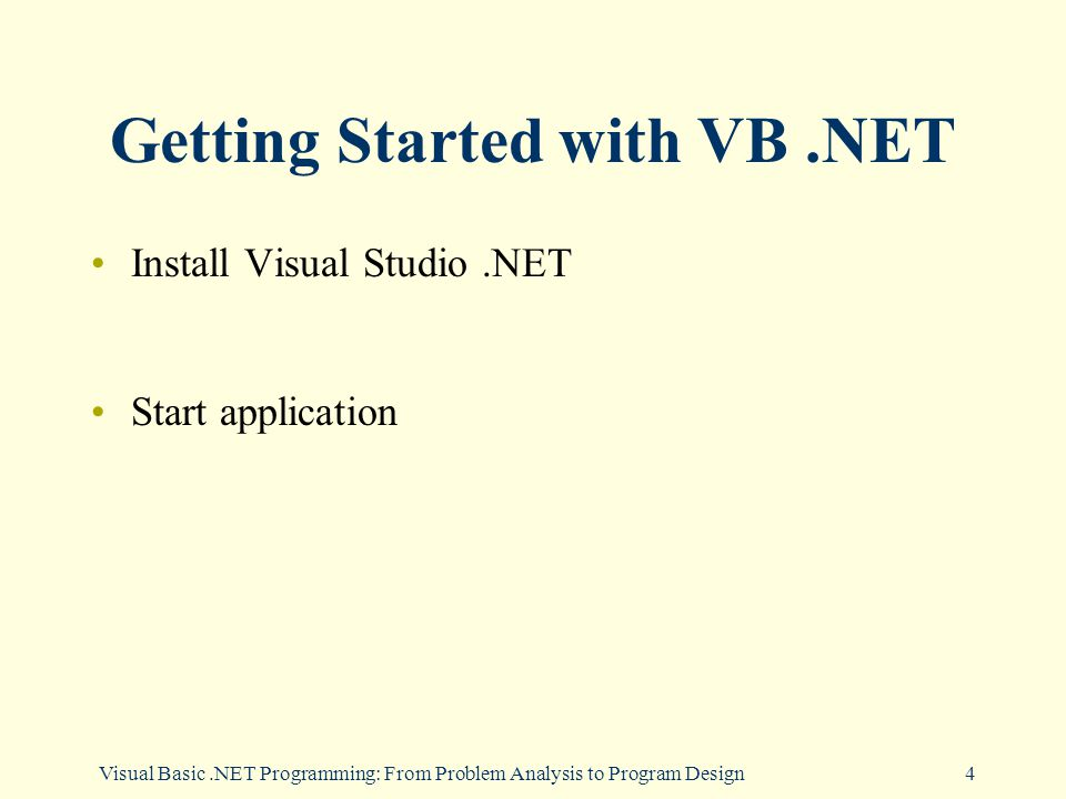 Visual Basic.NET Programming: From Problem Analysis to Program Design4 Getting Started with VB.NET Install Visual Studio.NET Start application