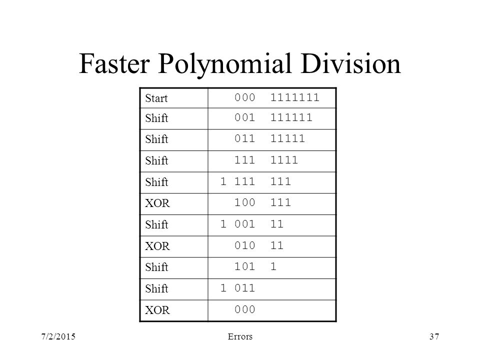 7/2/2015Errors37 Faster Polynomial Division Start Shift Shift Shift Shift XOR Shift XOR Shift Shift XOR 000