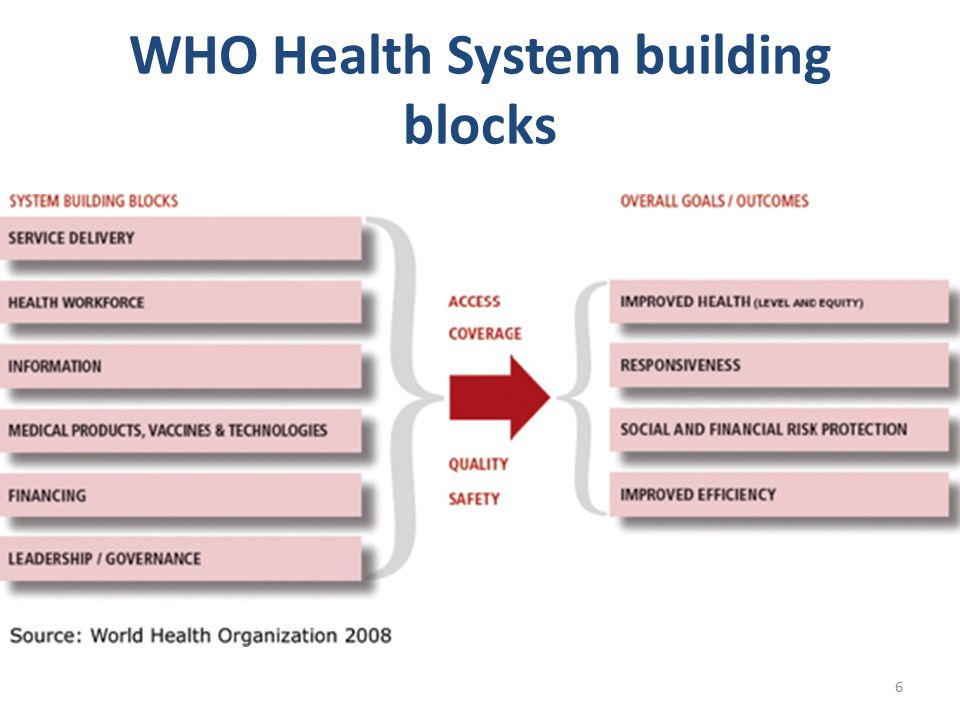 WHO Health System building blocks 6