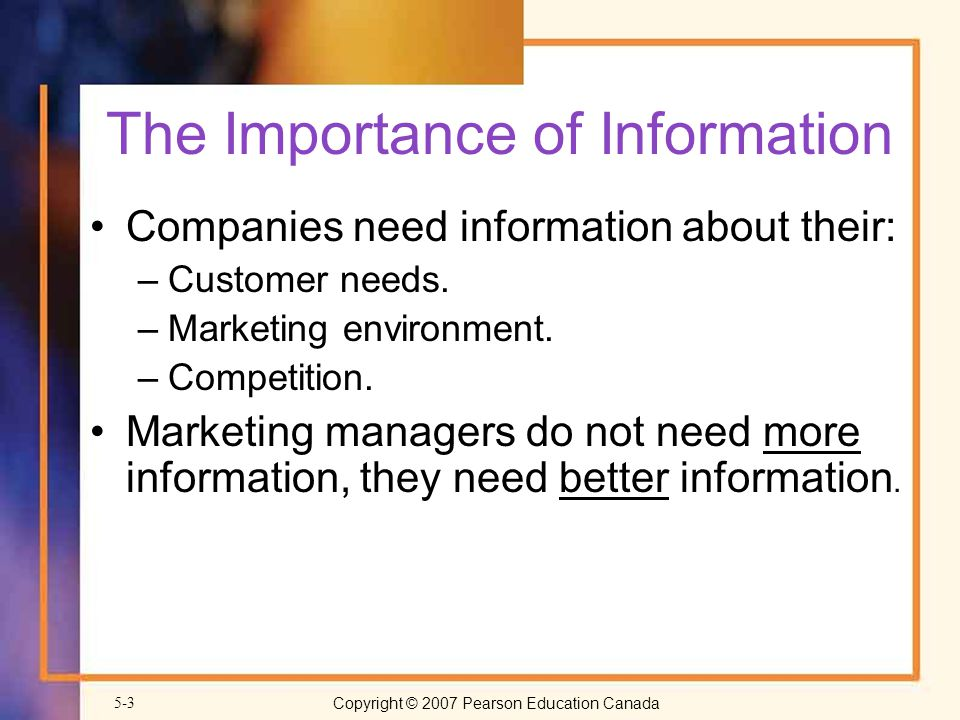 Copyright © 2007 Pearson Education Canada5-3 The Importance of Information Companies need information about their: –Customer needs.