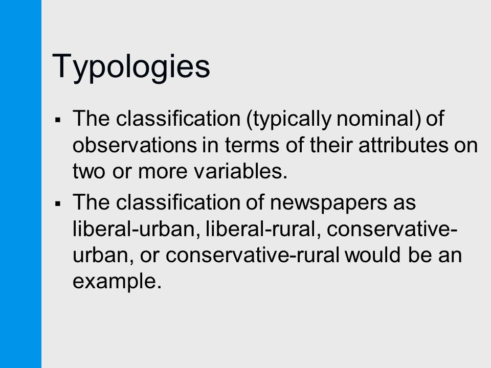 Typologies  The classification (typically nominal) of observations in terms of their attributes on two or more variables.
