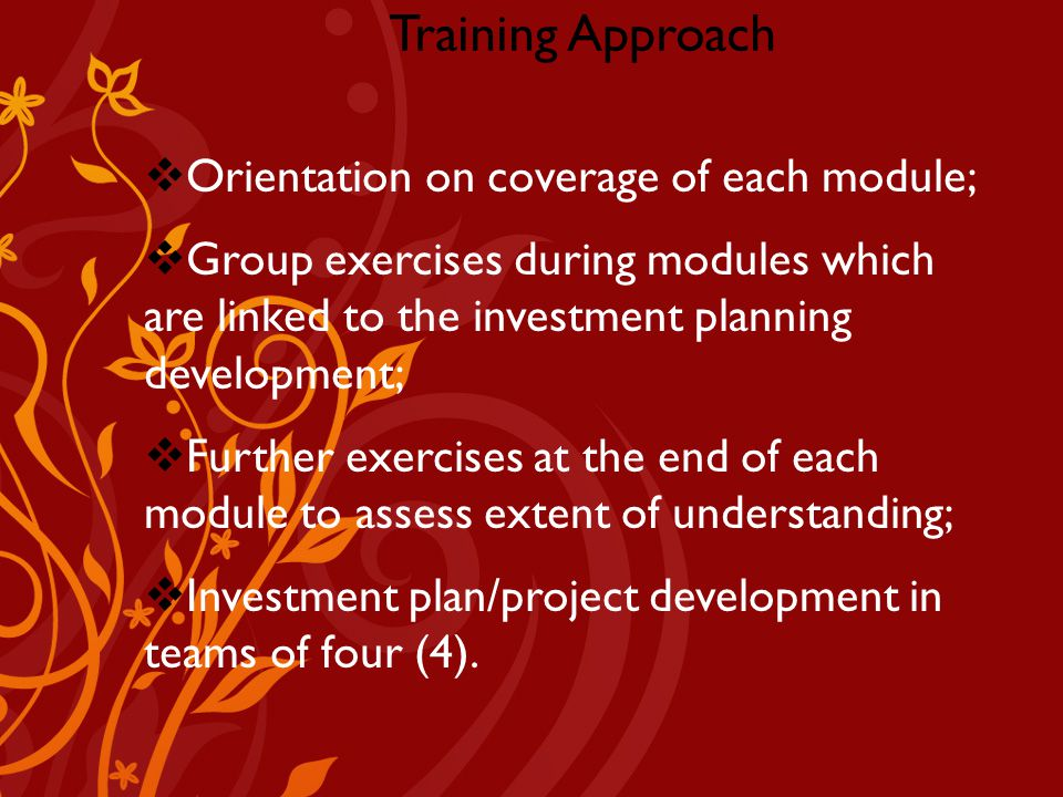 Company Logo Training Approach  Orientation on coverage of each module;  Group exercises during modules which are linked to the investment planning development;  Further exercises at the end of each module to assess extent of understanding;  Investment plan/project development in teams of four (4).