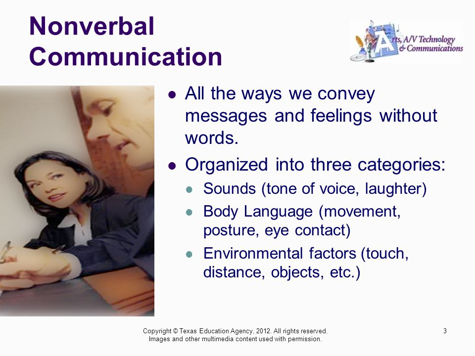 Nonverbal Communication Copyright © Texas Education Agency, 2012.