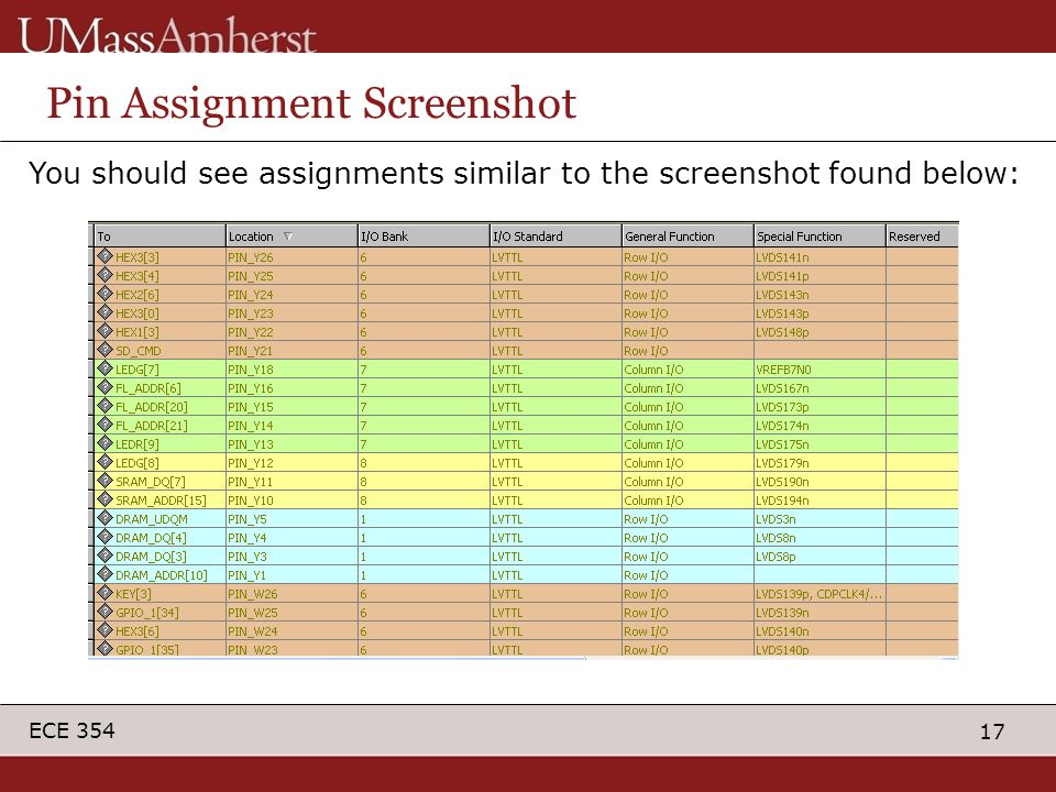 17 ECE 354 Pin Assignment Screenshot You should see assignments similar to the screenshot found below: