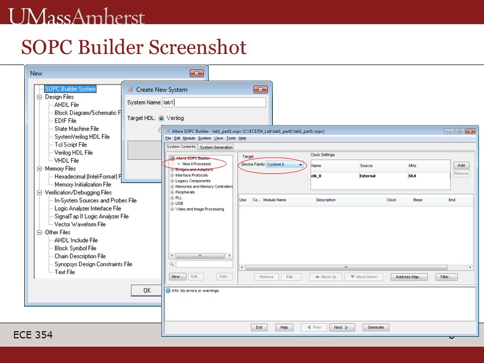 8 ECE 354 SOPC Builder Screenshot
