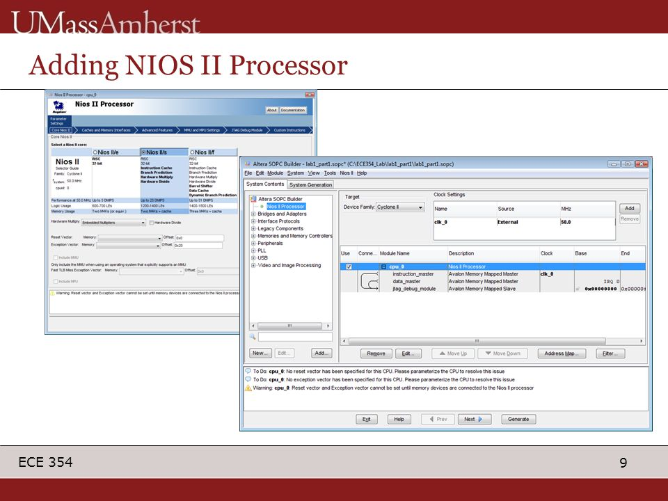 9 ECE 354 Adding NIOS II Processor
