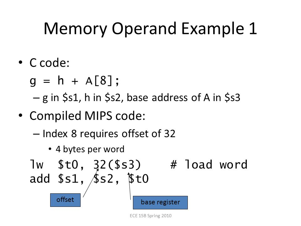 Memory Operand Example 1 C code: g = h + A[8]; – g in $s1, h in $s2, base address of A in $s3 Compiled MIPS code: – Index 8 requires offset of 32 4 bytes per word lw $t0, 32($s3) # load word add $s1, $s2, $t0 offset base register ECE 15B Spring 2010