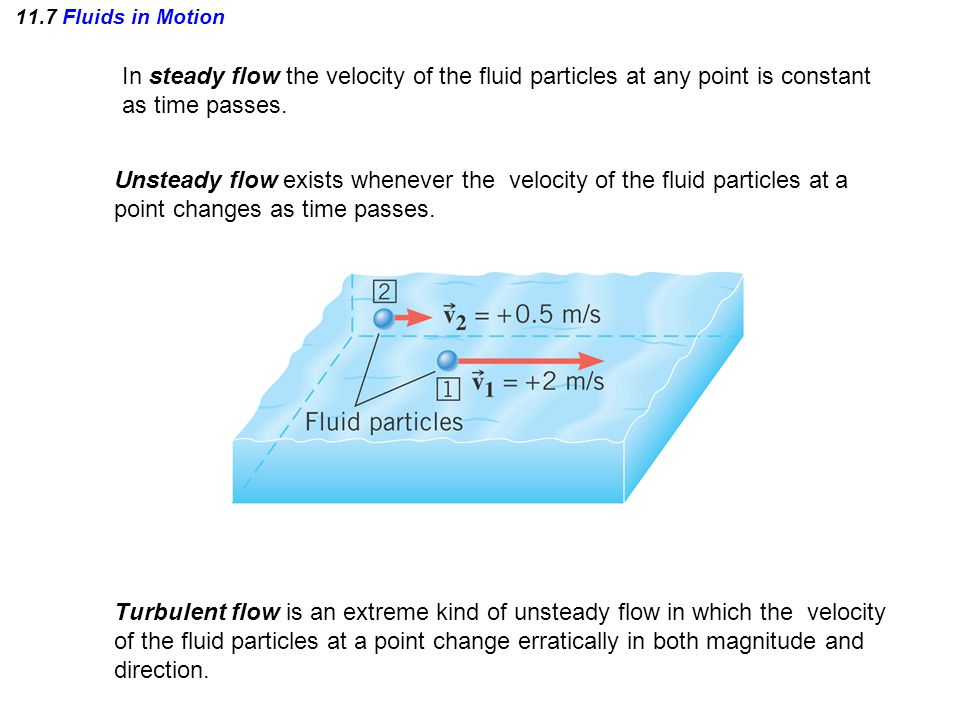 11.7 Fluids in Motion In steady flow the velocity of the fluid particles at any point is constant as time passes.