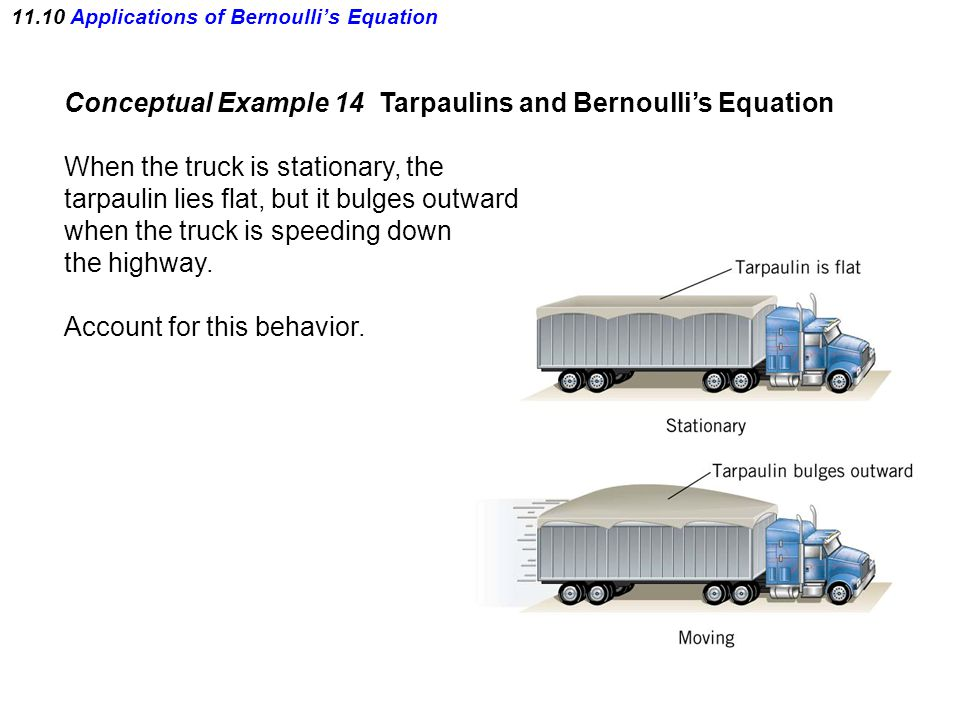 11.10 Applications of Bernoulli's Equation Conceptual Example 14 Tarpaulins and Bernoulli's Equation When the truck is stationary, the tarpaulin lies flat, but it bulges outward when the truck is speeding down the highway.