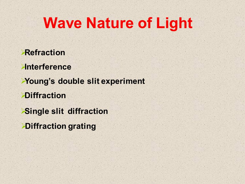 Wave Nature of Light  Refraction  Interference  Young's double slit experiment  Diffraction  Single slit diffraction  Diffraction grating