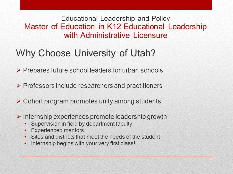 Educational Leadership Programs at the University of Utah