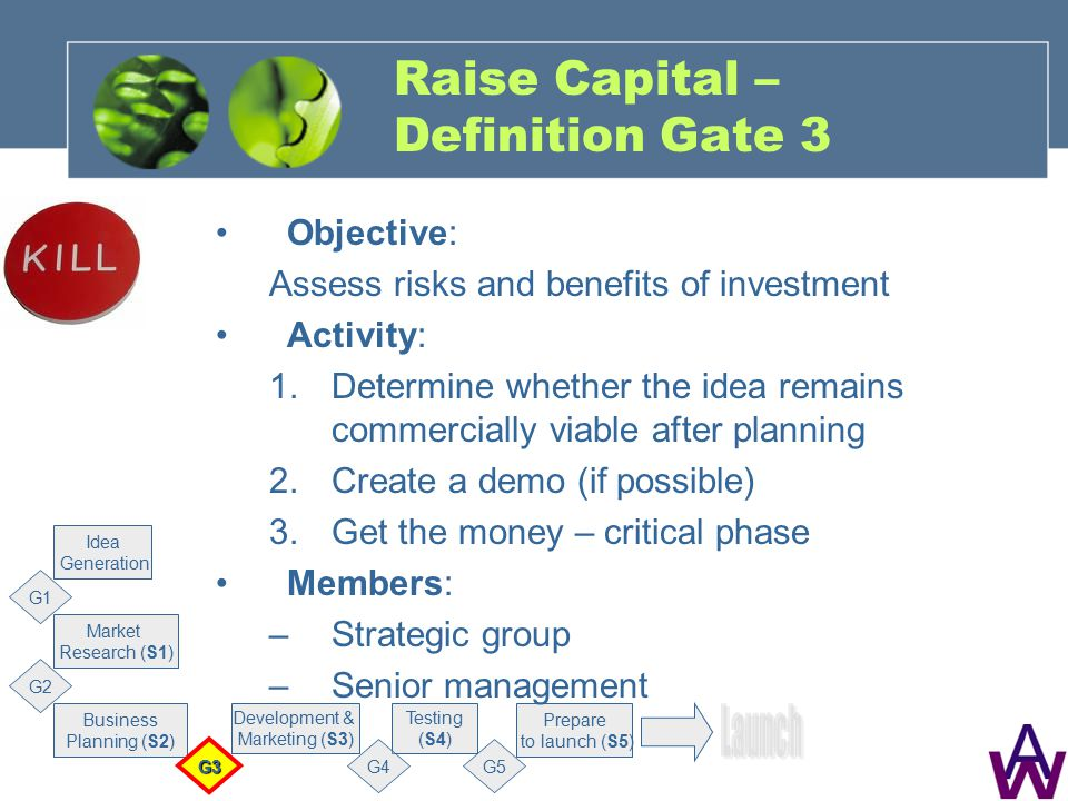 Raise Capital – Definition Gate 3 Objective: Assess risks and benefits of investment Activity: 1.Determine whether the idea remains commercially viable after planning 2.Create a demo (if possible) 3.Get the money – critical phase Members: –Strategic group –Senior management Market Research (S1) G1 Business Planning (S2) Development & Marketing (S3) Testing (S4) Prepare to launch (S5) Idea Generation G2 G3 G4G5