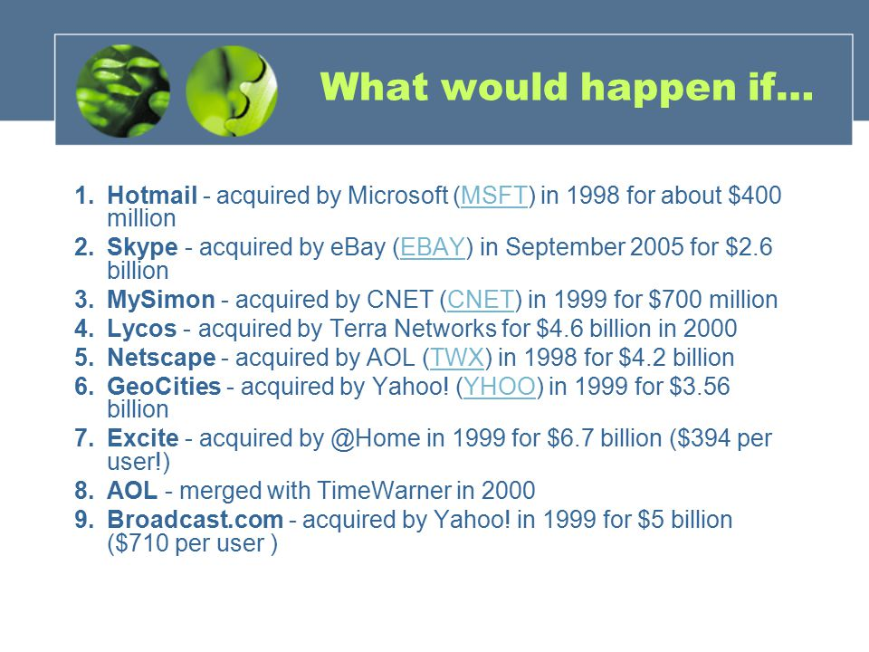 What would happen if… 1.Hotmail - acquired by Microsoft (MSFT) in 1998 for about $400 millionMSFT 2.Skype - acquired by eBay (EBAY) in September 2005 for $2.6 billionEBAY 3.MySimon - acquired by CNET (CNET) in 1999 for $700 millionCNET 4.Lycos - acquired by Terra Networks for $4.6 billion in Netscape - acquired by AOL (TWX) in 1998 for $4.2 billionTWX 6.GeoCities - acquired by Yahoo.