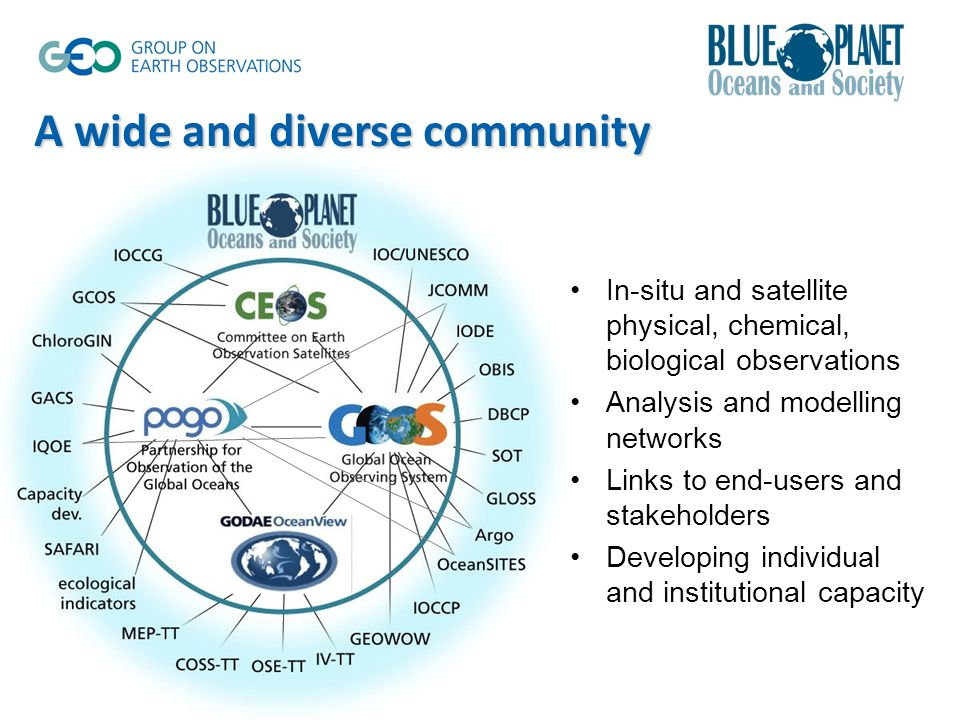 In-situ and satellite physical, chemical, biological observations Analysis and modelling networks Links to end-users and stakeholders Developing individual and institutional capacity A wide and diverse community