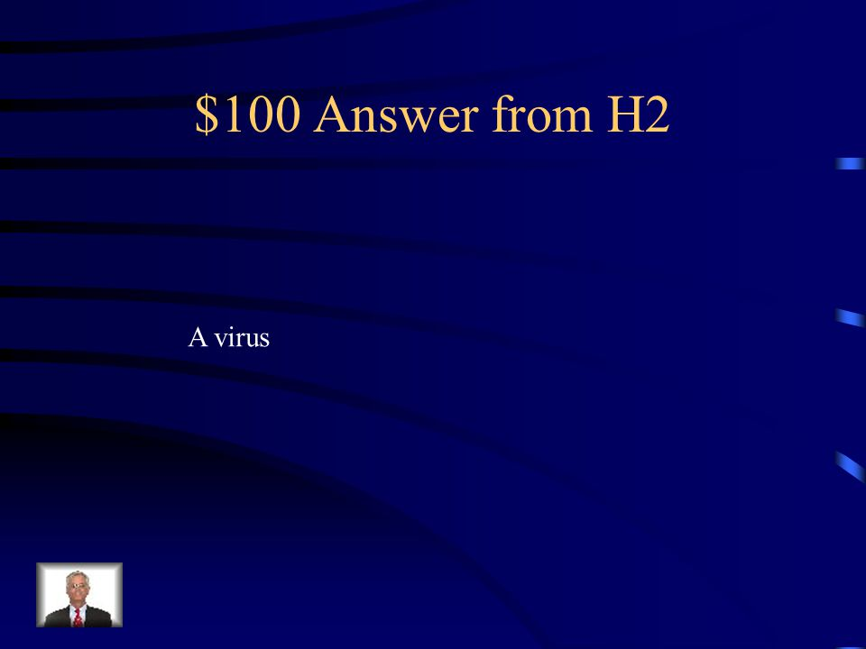 $100 Question from H2 What do you call something that gets in your computer and tries to mess it up