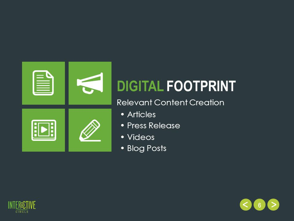 6 DIGITAL FOOTPRINT Relevant Content Creation Videos Blog Posts Articles Press Release