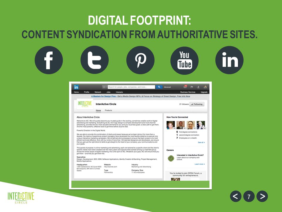 7 DIGITAL FOOTPRINT: CONTENT SYNDICATION FROM AUTHORITATIVE SITES.