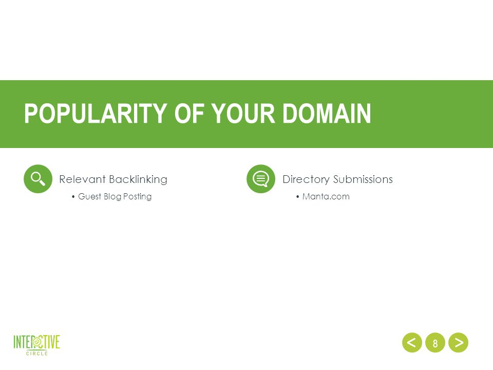 8 Relevant BacklinkingDirectory Submissions POPULARITY OF YOUR DOMAIN Guest Blog Posting Manta.com