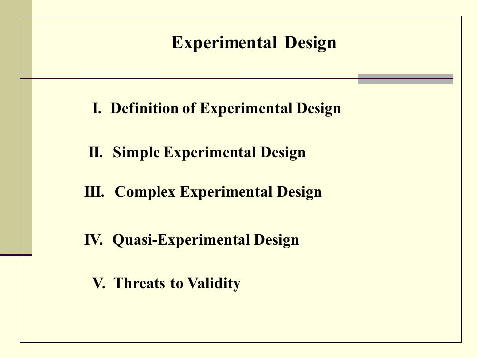 Experimental Design Internal Validation