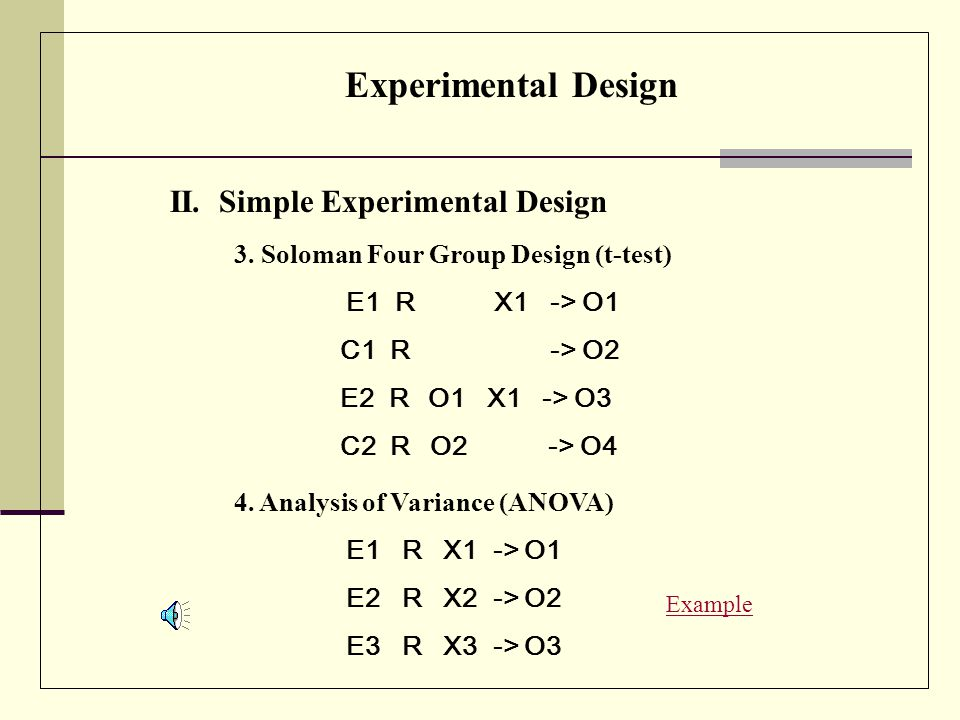 Experimental Design II. Simple Experimental Design 2.