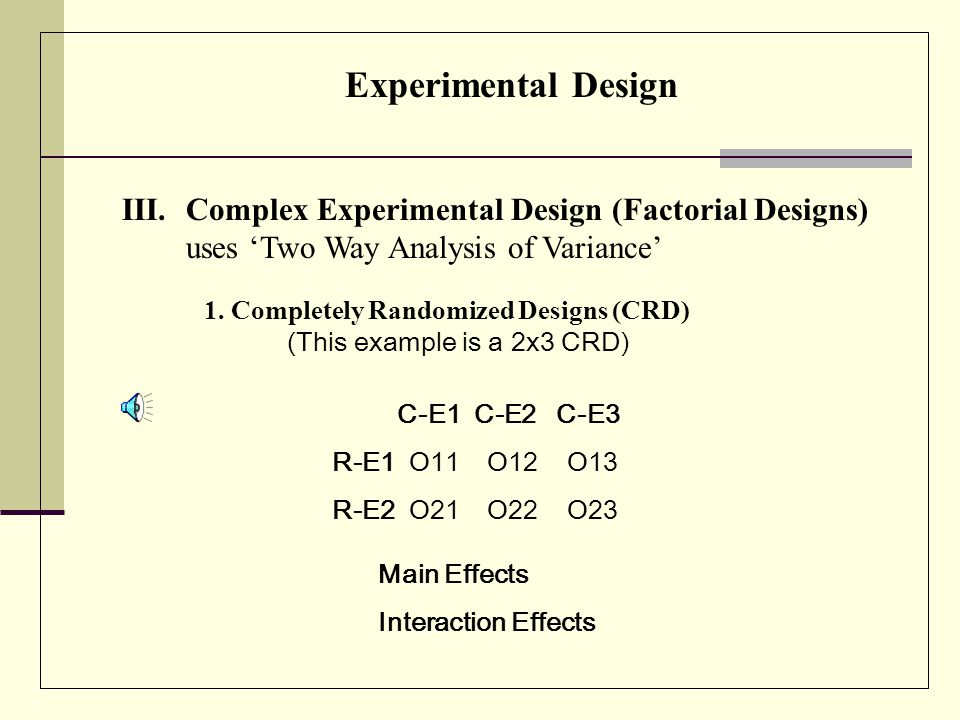 Experimental Design II. Simple Experimental Design 3.