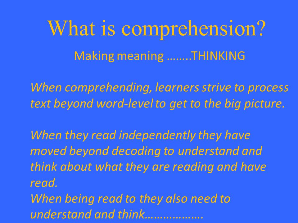 What is comprehension.