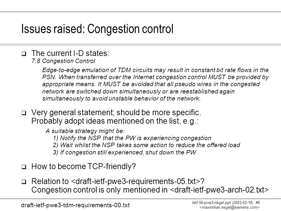 Max Riegel Requirements for Edge-to-Edge Emulation of TDM