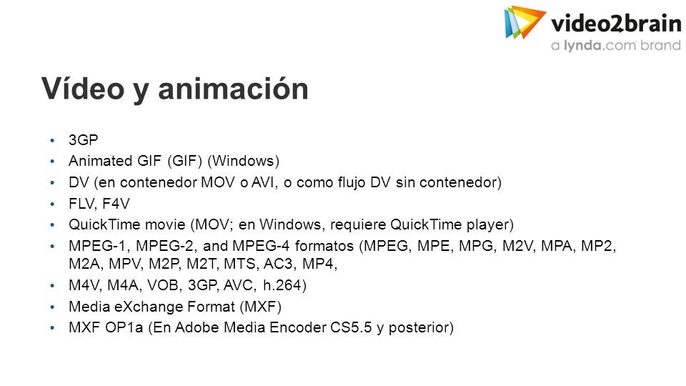 Adobe Media Encoder Formatos de importación  Vídeo y