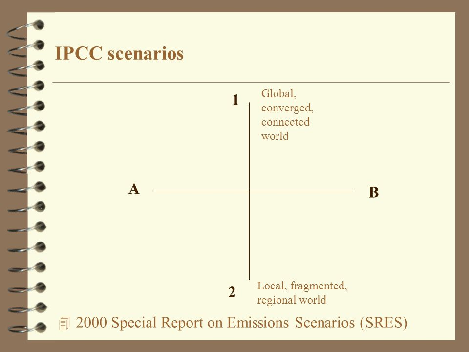 Special Report on Emissions Scenarios (SRES) IPCC scenarios A B 1 2 Local, fragmented, regional world Global, converged, connected world