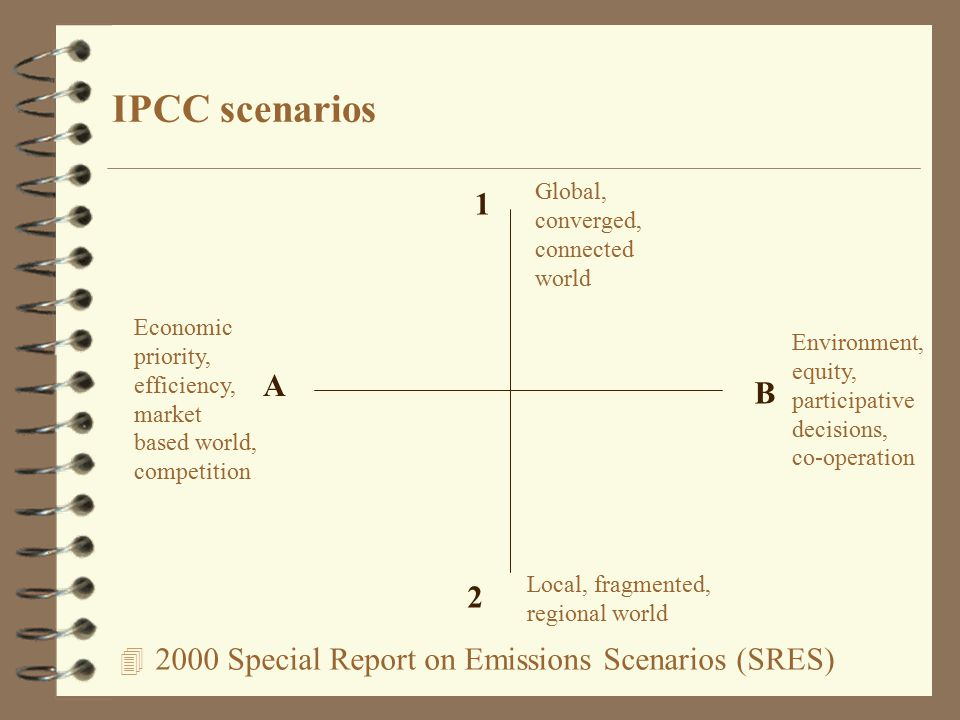 Special Report on Emissions Scenarios (SRES) IPCC scenarios A B 1 2 Economic priority, efficiency, market based world, competition Environment, equity, participative decisions, co-operation Local, fragmented, regional world Global, converged, connected world