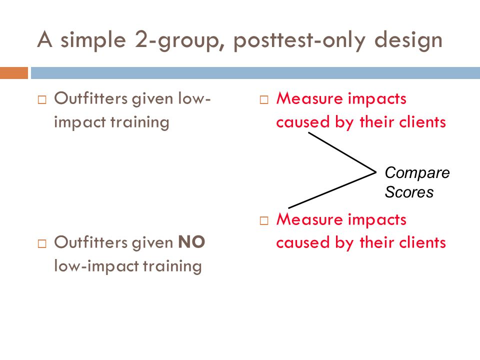 A simple 2-group, posttest-only design  Outfitters given low- impact training  Outfitters given NO low-impact training  Measure impacts caused by their clients Compare Scores