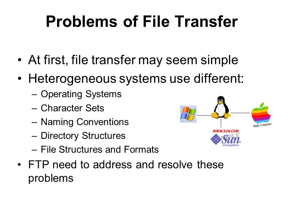 Problems of File Transfer At first, file transfer may seem simple Heterogeneous systems use different: –Operating Systems –Character Sets –Naming Conventions –Directory Structures –File Structures and Formats FTP need to address and resolve these problems