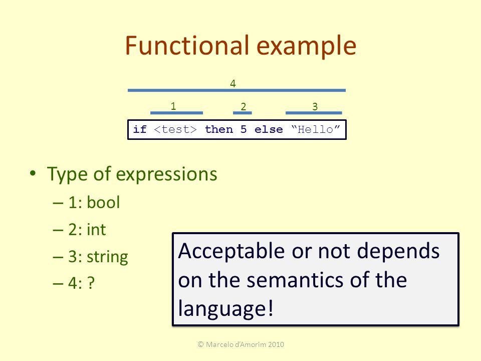 Functional example Type of expressions – 1: bool – 2: int – 3: string – 4: .