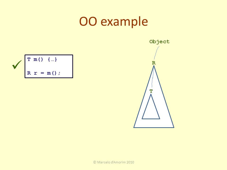 OO example © Marcelo d'Amorim 2010 T m() {…} R r = m(); R T Object
