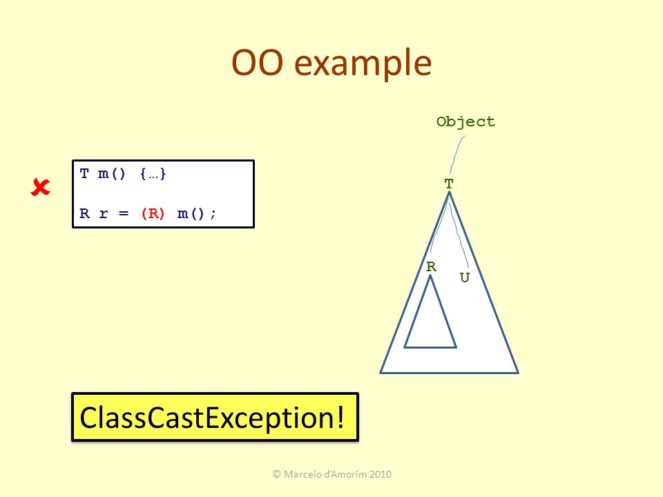 OO example © Marcelo d'Amorim 2010 T R Object U T m() {…} R r = (R) m(); ClassCastException! 