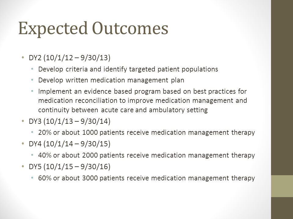 Expected Outcomes DY2 (10/1/12 – 9/30/13) Develop criteria and identify targeted patient populations Develop written medication management plan Implement an evidence based program based on best practices for medication reconciliation to improve medication management and continuity between acute care and ambulatory setting DY3 (10/1/13 – 9/30/14) 20% or about 1000 patients receive medication management therapy DY4 (10/1/14 – 9/30/15) 40% or about 2000 patients receive medication management therapy DY5 (10/1/15 – 9/30/16) 60% or about 3000 patients receive medication management therapy
