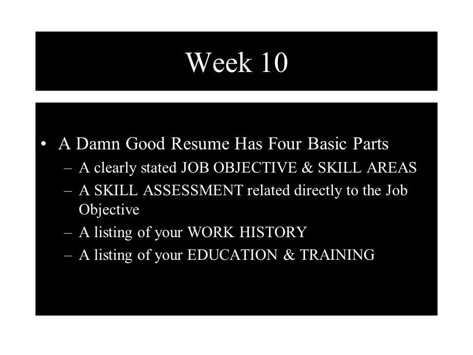 Week 10 Types Of Resume Chronological Resume The Easiest To Prepare