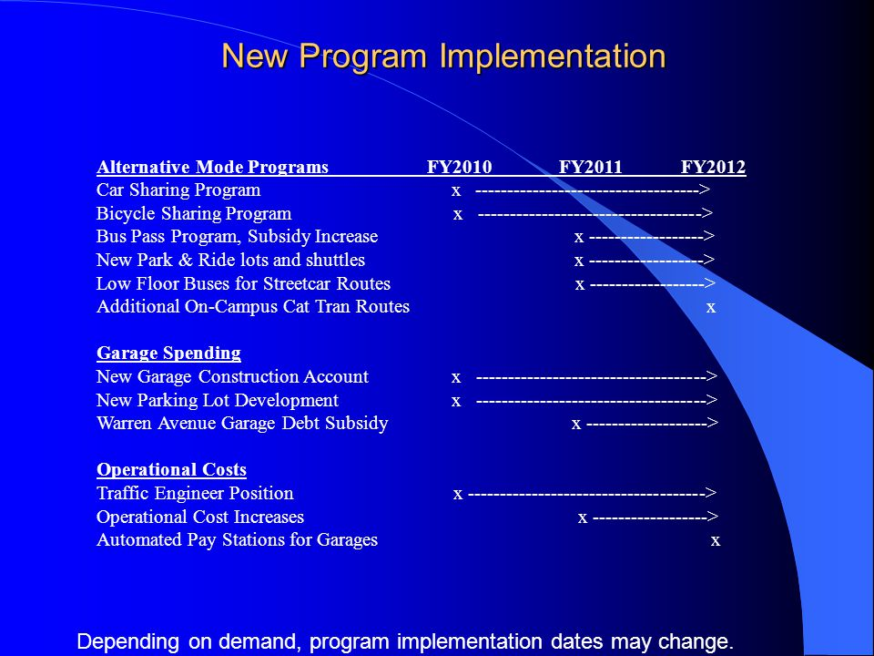 New Program Implementation Alternative Mode Programs FY2010 FY2011 FY2012 Car Sharing Program x > Bicycle Sharing Program x > Bus Pass Program, Subsidy Increase x > New Park & Ride lots and shuttles x > Low Floor Buses for Streetcar Routes x > Additional On-Campus Cat Tran Routes x Garage Spending New Garage Construction Account x > New Parking Lot Development x > Warren Avenue Garage Debt Subsidy x > Operational Costs Traffic Engineer Position x > Operational Cost Increases x > Automated Pay Stations for Garages x Depending on demand, program implementation dates may change.