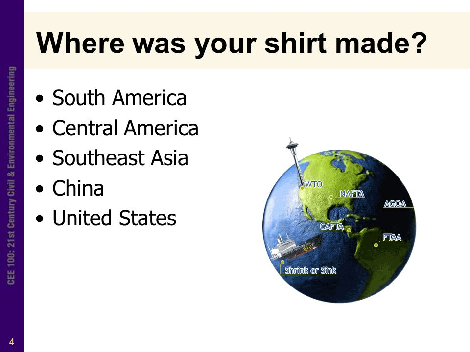 4 Where was your shirt made South America Central America Southeast Asia China United States