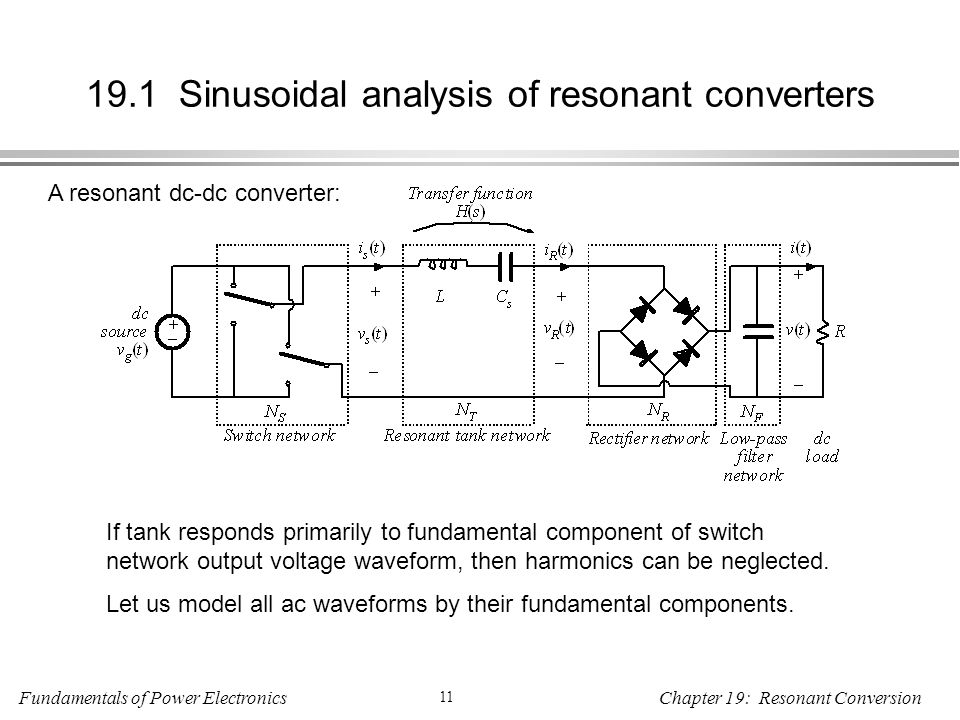 Fundamentals of Power Electronics 11 Chapter 19: Resonant Conversion 19.1 Sinusoidal analysis of resonant converters A resonant dc-dc converter: If tank responds primarily to fundamental component of switch network output voltage waveform, then harmonics can be neglected.