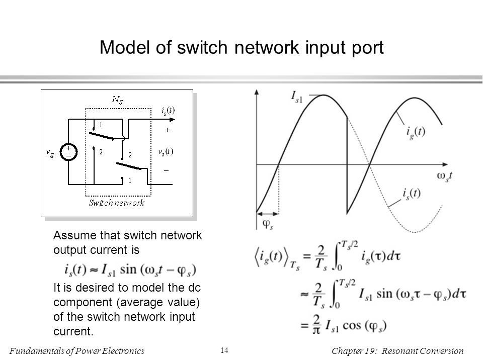 Fundamentals of Power Electronics 14 Chapter 19: Resonant Conversion Model of switch network input port Assume that switch network output current is It is desired to model the dc component (average value) of the switch network input current.