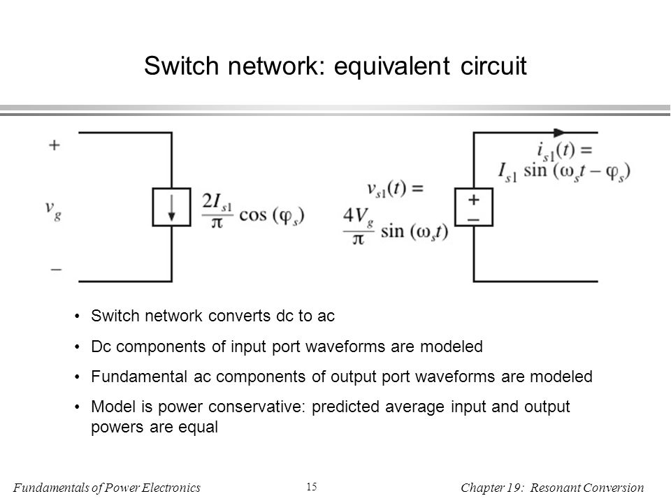 Fundamentals of Power Electronics 15 Chapter 19: Resonant Conversion Switch network: equivalent circuit Switch network converts dc to ac Dc components of input port waveforms are modeled Fundamental ac components of output port waveforms are modeled Model is power conservative: predicted average input and output powers are equal