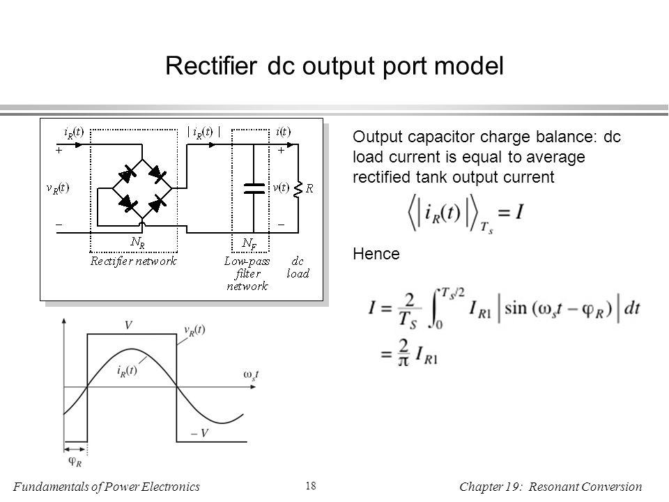 Fundamentals of Power Electronics 18 Chapter 19: Resonant Conversion Rectifier dc output port model Output capacitor charge balance: dc load current is equal to average rectified tank output current Hence