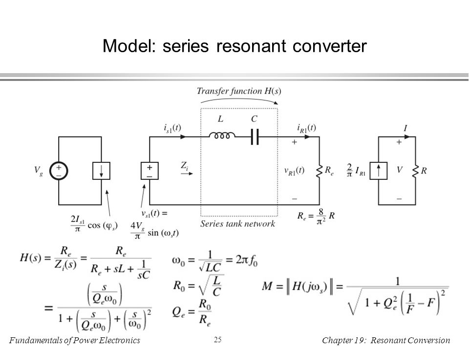 Fundamentals of Power Electronics 25 Chapter 19: Resonant Conversion Model: series resonant converter