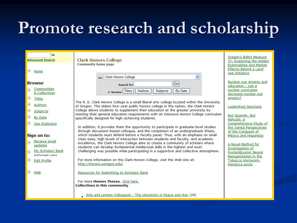 Promote research and scholarship
