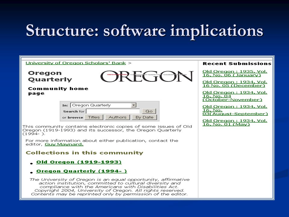 Structure: software implications