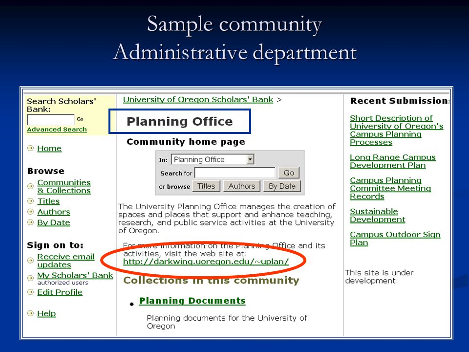 Sample community Administrative department