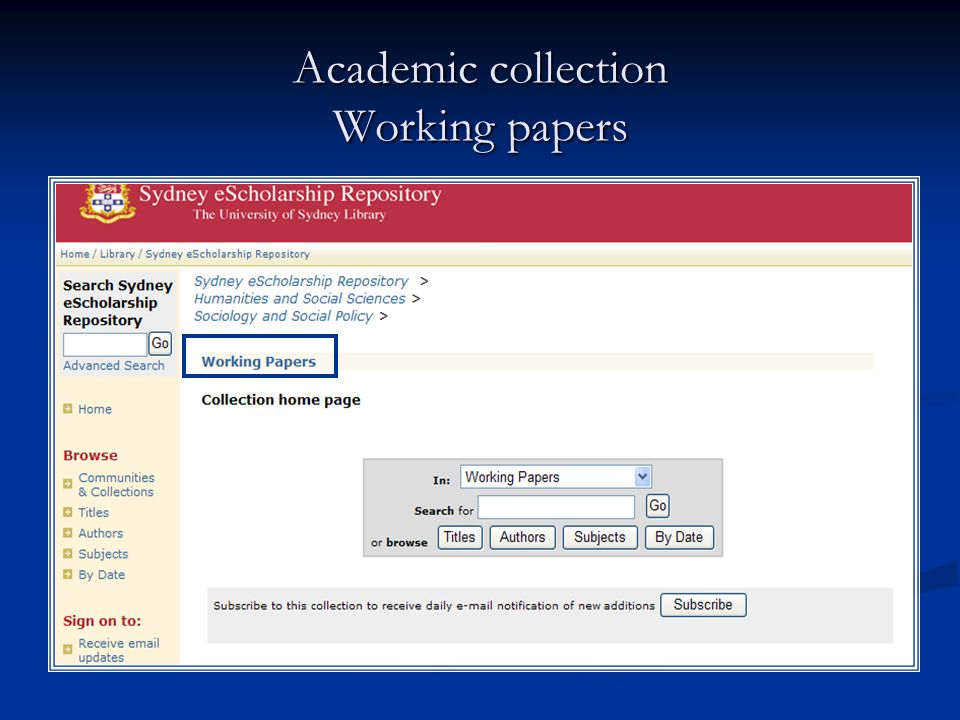 Academic collection Working papers