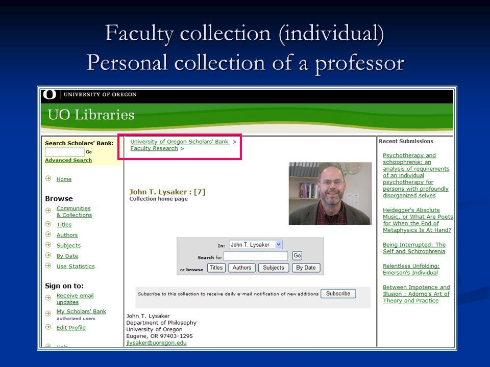 Faculty collection (individual) Personal collection of a professor